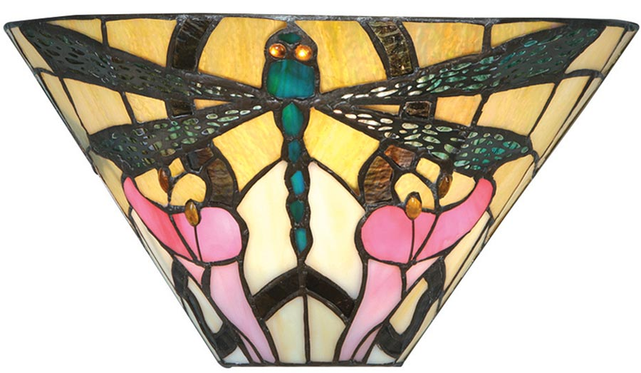 Ashton 305mm Tiffany Wall Lamp Art Nouveau Dragonfly 63926