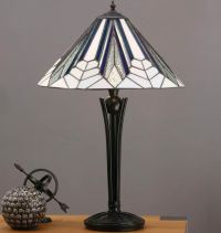 Astoria Medium 2 Light Tiffany Table Lamp Art Deco Design