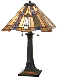 Inglenook Art Deco Style 2 Light Pyramid Tiffany Table ...