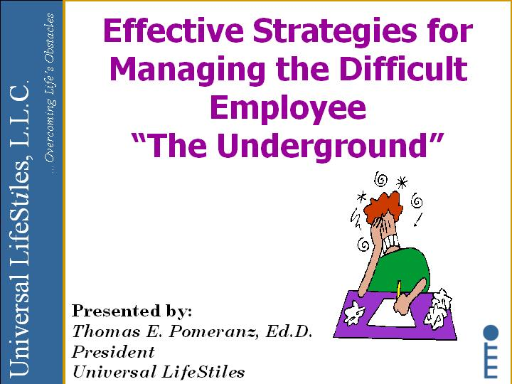 Universal LifeStiles - Training Effective Strategies for Managing - effective employee management strategy