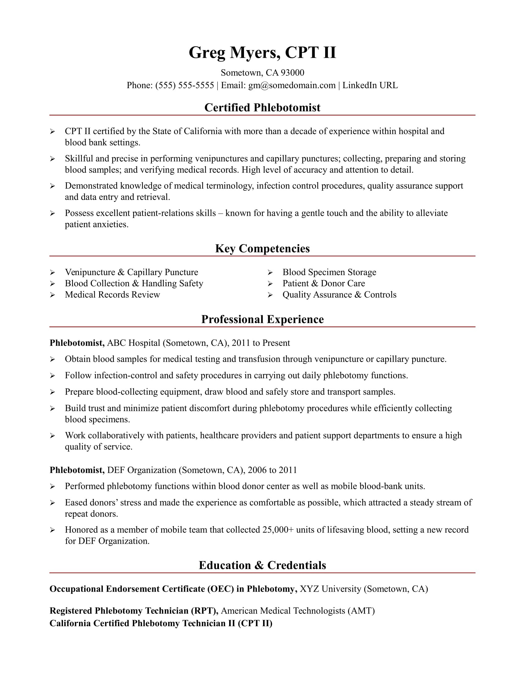 sample resume for medical assistant phlebotomist