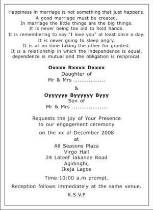Engagement Ceremony Invitation Wordings,Engagement Ceremony Wordings - engagement invitation matter