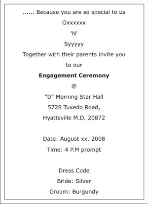 Engagement Ceremony Invitation Wordings,Engagement Ceremony Wordings - engagement invitation words