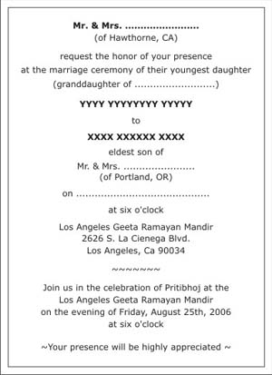 Hindu Wedding Invitation Wordings,Hindu Wedding Wordings,Hindu - invitation formats