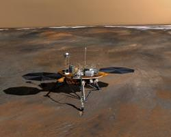 Artist impression of the Phoenix lander. Image credit: NASA/JPL