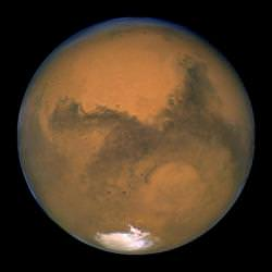 Mars, seen in August 2003. Image credit: Hubble