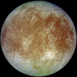 Europa, captured by Galileo. Image credit: NASA/JPL