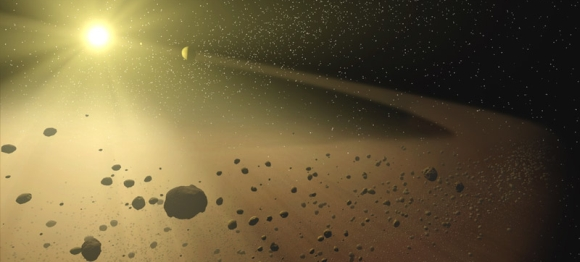 An artists impression of an asteroid belt. Credit: NASA