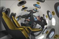 Weightlessness inside the Astrium spaceship - artist impression (credit: Astrium/Marc Newson)