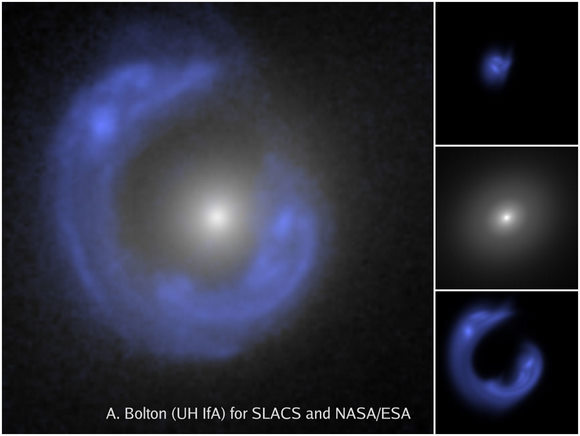 Hubble Space Telescope image shows a gravitational lens, with the lensed background galaxy enhanced in blue. Credit: A. Bolton (UH/IfA) for SLACS and NASA/ESA.