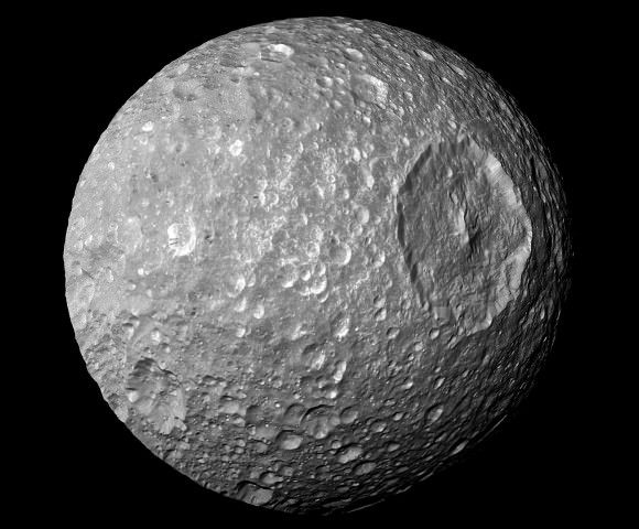 A view of Mimas from the Cassini spacecraft. Credit: