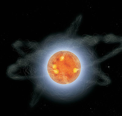 Artists impression of a magnetar.  Credits: © 2008 Sky & Telescope: Gregg Dinderman