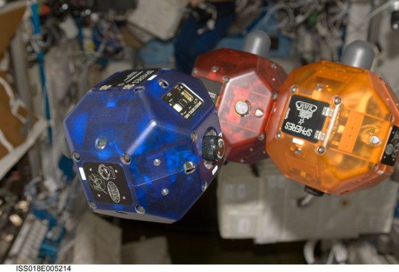 SPHERES on the ISS.  Credit: NASA