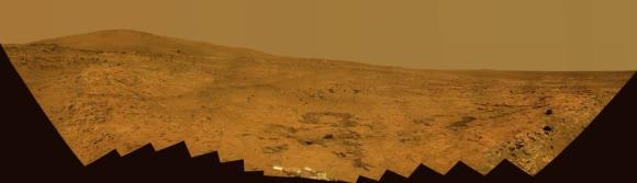 Bonestell panorama, taken by Spirit during her winter stay on the north side of Home Plate.  Credit:  NASA/JPL/Cornell