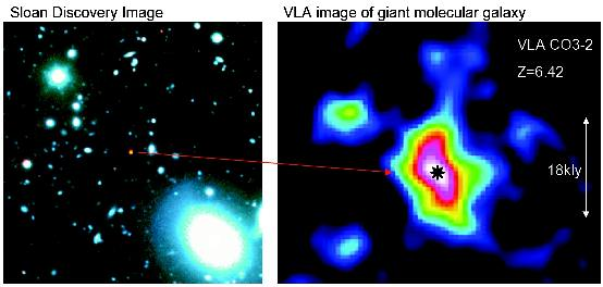 Enlarge VLA image (right) of gas in young galaxy seen as it was when the Universe was only 870 million years old. Image: NRAO/AUI/NSF, SDSS