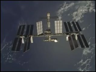 ISS.  Credit: NASA TV