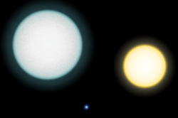 Relative sizes of IK Pegasi A (left), IK Pegasi B (lower center; a white dwarf) and the Sun (NASA)
