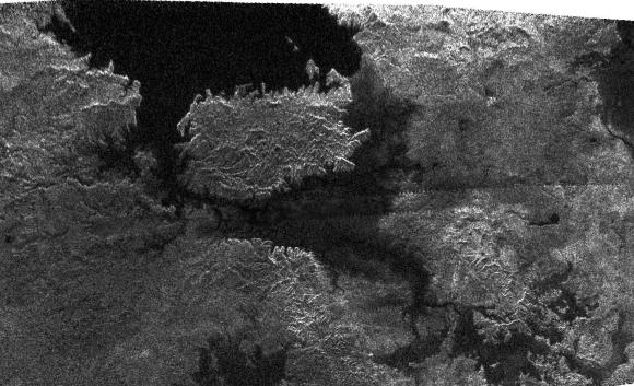 Lakes on Titan. Image credit: NASA/JPL/SSI