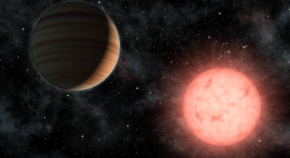 This artist's concept shows the smallest star known to host a planet. Image credit: NASA/JPL-Caltech