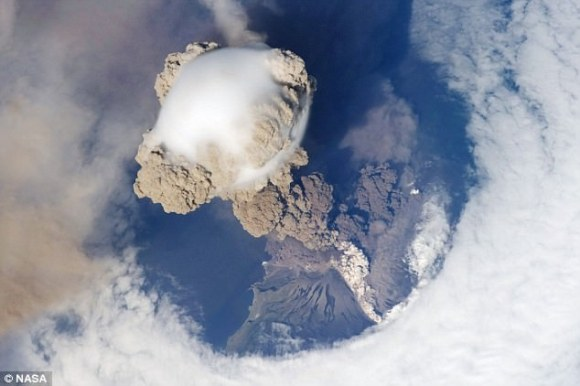 Sarychev Volcano as seen from the ISS. Credit: NASA