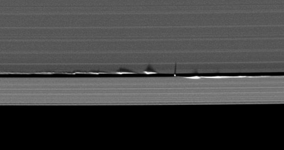 Vertical structures created by Saturn's small moon Daphnis cast long shadows across the rings in this dramatic image taken as the planet approaches its mid-August 2009 equinox. Credit: CICLOPS
