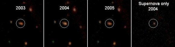This image shows the host galaxy containing one of the newly discovered supernovae.  Comparing the images shows how the galaxy visibly brightens in 2004 and then returns to normal. This suggested that in 2003 the supernova was not detected; it appeared in 2004 and was beginning to fade in 2005.  The last frame subtracts the images from the years that the supernova was not detected as well as the galaxy's light to reveal only the supernova. Credit: Jeff Cooke/CFHT