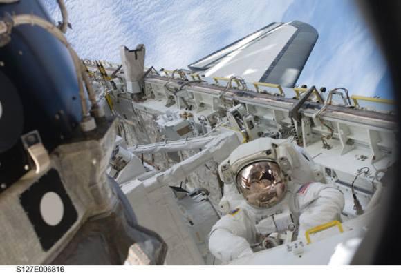 Astronaut Tim Kopra during an EVA. Credit: NASA