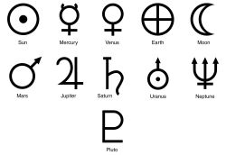 symbols of the planets and Pluto