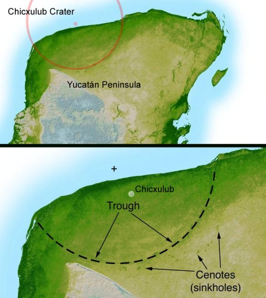 Chicxulub crater in Mexico. Credit: Wikipedia/NASA