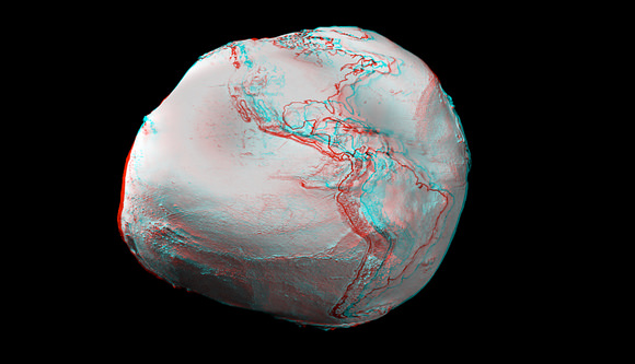 Anaglyph images created from an ESA video animation of global gravity gradients. A more accurate global map will be generated by ESA's GOCE craft.  Credit:  ESA and Nathanial Burton Bradford.