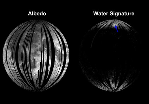The image on the left shows albedo, or the sunlight reflected from the surface of the moon. The image on the right shows where infrared light is absorbed in the characteristic manner that indicates the presence of water and hydroxyl molecules. That image shows that signature most strongly at the cool, high latitudes near the poles. The blue arrow indicates Goldschmidt crater, a large feldspar-rich region with a higher water and hydroxyl signature.  Image credit: ISRO/NASA/JPL-Caltech/Brown Univ.