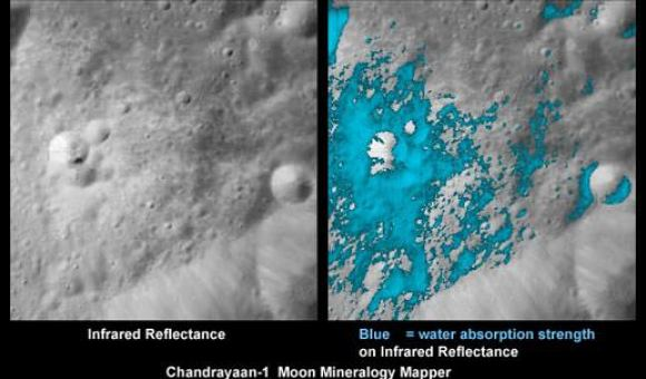 The distribution of water (light blue) around a small young crater on the Moon. Credits: ISRO/NASA/JPL-Caltech/USGS/Brown Univ.