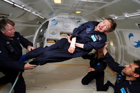 Stephen Hawking, weightless (courtesy Zero Gravity Corporation)