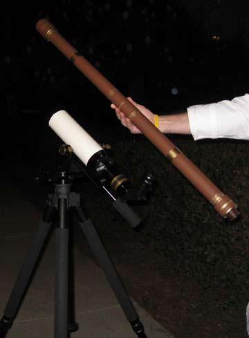 Jane Houston Jones' telescope alongside a replica of Galileo's telescope.  Cre