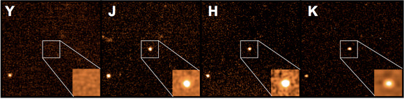 Images of the afterglow of GRB 090423 taken (left to right) with the Y, J, H and K filters. The absence of any flux in the Y filter is a strong indication that the GRB is very high redshift (Credit: A. J. Levan & N. R. Tanvir)