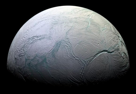 Enceladus.  Credit: NASA/JPL/Space Science Institute