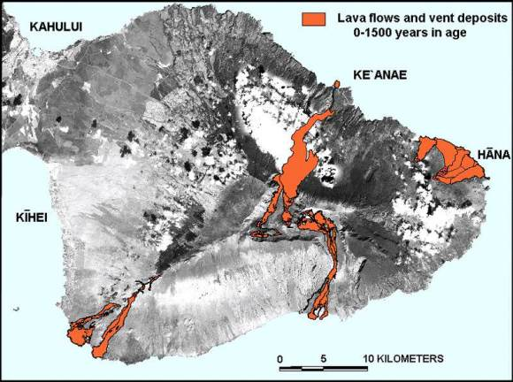 Modern techniques have allowed geologists to accurately date the lava flows on Maui. Credit: D. Sherrod/USGS