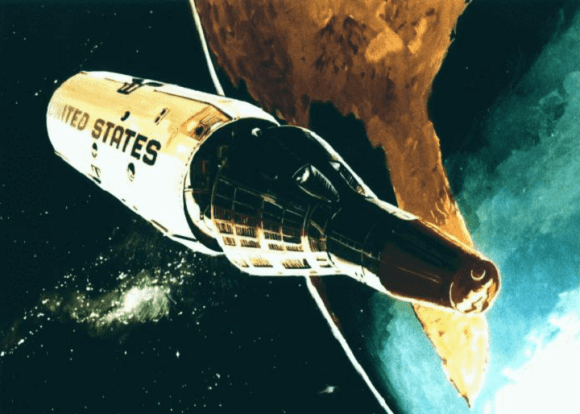 A 1967 conceptual drawing of the Gemini B reentry capsule separating from the MOL at the end of a mission. Credit: NASA