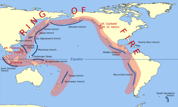 The Pacific Ring of Fire, a string of volcanic regions extending from the South Pacific to South America. Credit: Public Domain