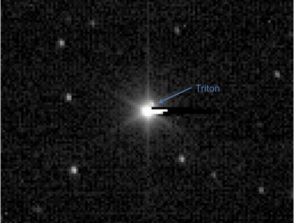 New Horizons image of Neptune and its largest moon, Triton. June 23, 2010. Credit: NASA