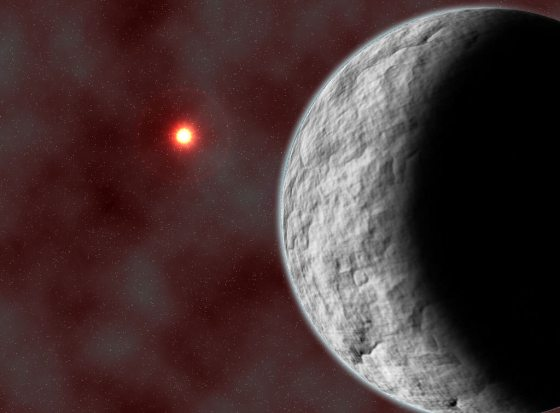 A low-mass, rocky planet orbits a distant sun