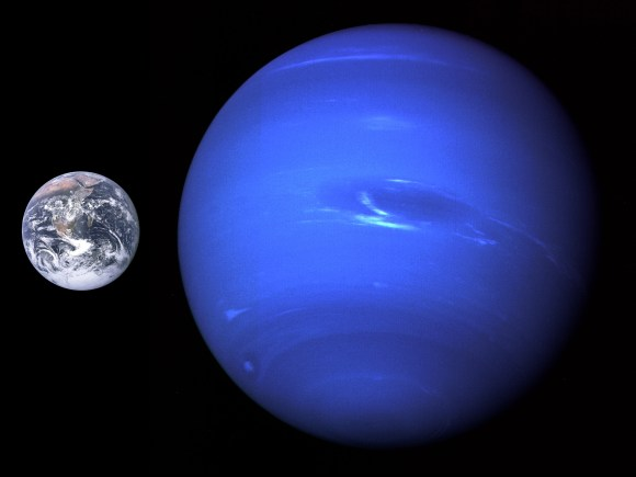 A size comparison of Neptune and Earth. Credit: NASA