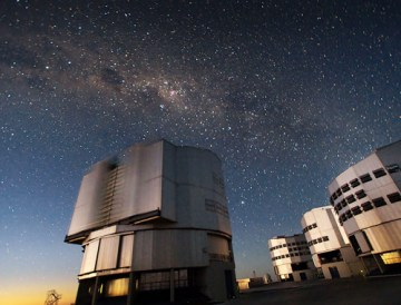 The Very Large Telescope (VLT) at ESO's Cerro Paranal observing site.  Located in the Atacama Desert of Chile, the site is over 2600 metres  above sea level, providing incredibly dry, dark viewing conditions. The  VLT is the worldâ??s most advanced optical  instrument, consisting         of four Unit Telescopes with main mirrors 8.2-m in diameter and   four movable 1.8-m diameter Auxiliary        Telescopes. The telescopes  can work together, in groups of two or  three, to form a giant  interferometer, allowing astronomers to see  details up to 25 times  finer than with  the individual telescopes. Credit: European Southern Observatory