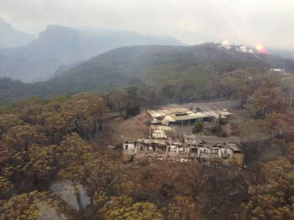 Bush fires destroyed the Lodge where vi
