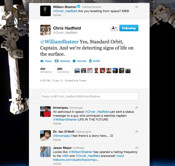 Chris Hadfield's Twitter page