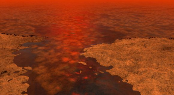 This artist's concept envisions what hydrocarbon ice forming on a liquid hydrocarbon sea of Saturn's moon Titan might look like. Image credit: NASA/JPL-Caltech/USGS