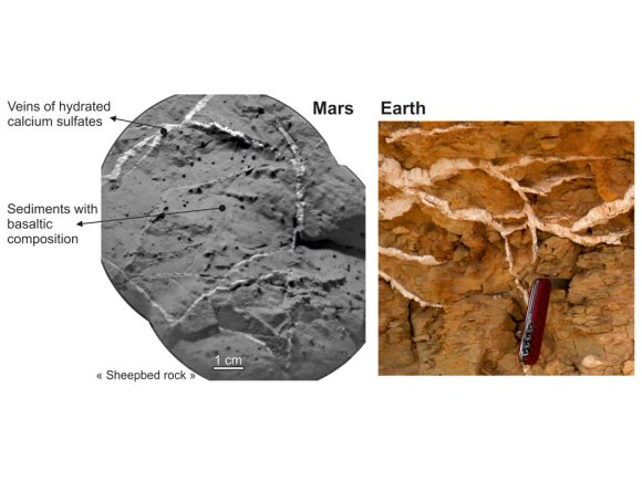 Veins in Rocks on Mars and Earth. Ccredit: NASA/JPL-Caltech/LANL/CNES/IRAP/LPGNantes/CNRS/LGLyon/Planet-Terre