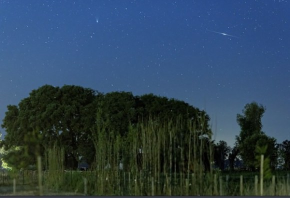 Comet PanSTARRS caught on the morning of February 12th, 2013 along with an Iridium satellite flare. (Credit Luis Argerich - Nightscape Photography. Used with permission).