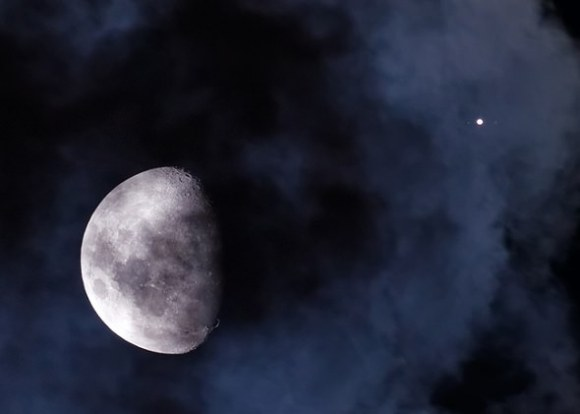 The January 2013 occultation of Jupiter by the Moon as seen from South America. (Image courtesy of Luis Argerich & Nightscape Photography; used with permission.