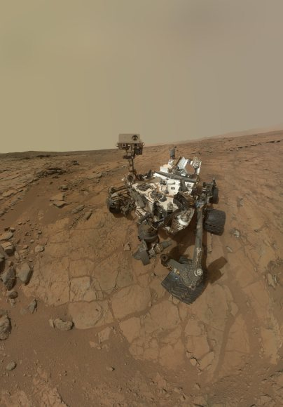 Curiosity Rover's Self Portrait at 'John Klein' Drilling Site, which combines dozens of exposures taken by the rover's Mars Hand Lens Imager (MAHLI) during the 177th Martian day, or sol, of Curiosity's work on Mars (Feb. 3, 2013). Credit: NASA/JPL-Caltech/MSSS